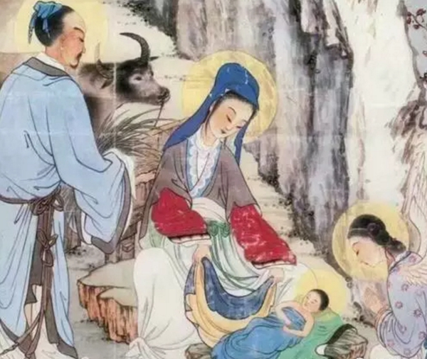 jesus-was-born-in-a-manger-illustrated-in-chinese-painting