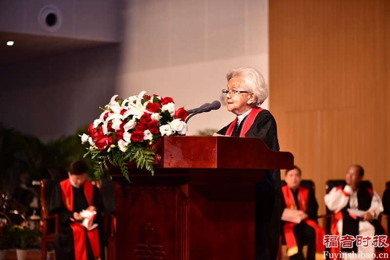Rev. Cao Shengjie, former president of the China Christian Council, giving an exhortation during the event.