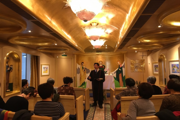 The Catholic chapel in the cruise: Pastor James shared the message on reconciliation.