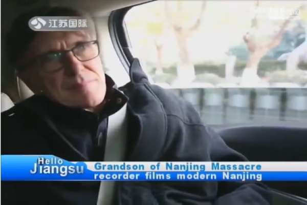 Chris Magee, Grandson of John Magee, follows John Magee's footsteps in Nanjing (ScreenCapture)