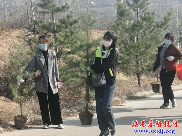 The church staff of Yulin, Shaanxi joined a voluntary tree planting campaign on April 9, 2020.