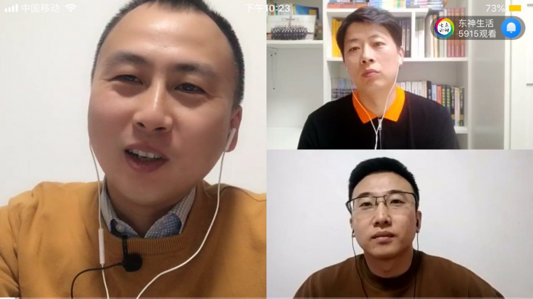 Pastor Song Guang talked with two yound pastors in the program