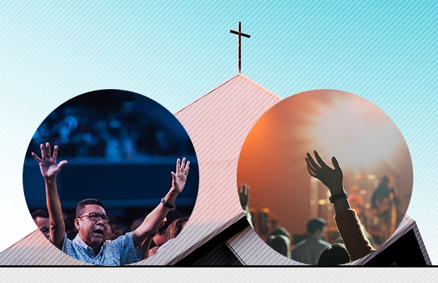 A pastor worships God, a church, and a believer joins in praise and worship.