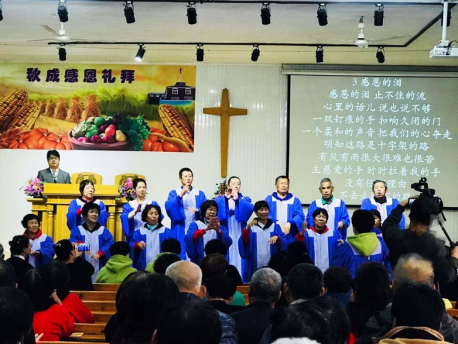 The choir of Shenyang Wanfang Church for the Deaf present a hymn in sign language in 2019.