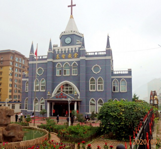The centurial Shahe Church in Anshan, in China's coastal-northeastern Liaoning Province
