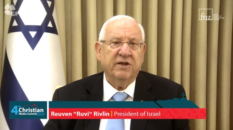 President of Israel Reuven Rivlin greeted the participants of the fourth Christian Media Summit in Jerusalem, Israel, on October 18, 2020.