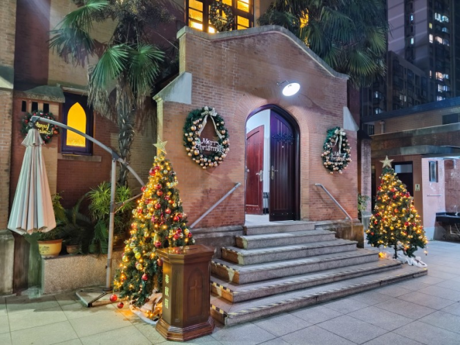 The Pure Heart Church in Shanghai was decorated by two Christmas trees on December 24, 2020.