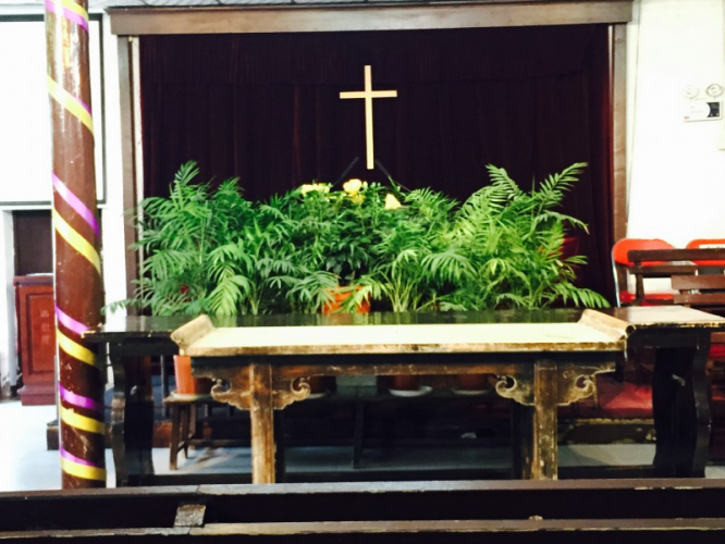 The picture of the altar of the Beijing Tongzhou Church