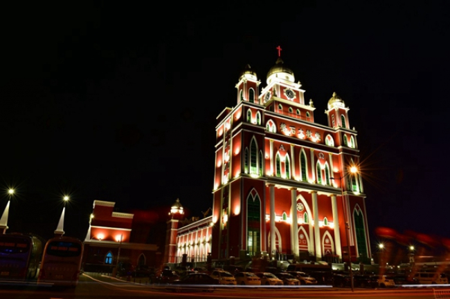 Panshi Church at night