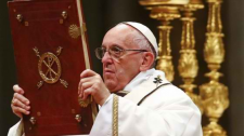 Pope Francis leading the Christmas mass at the Vatican
