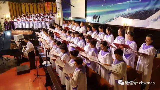 The choirs present hymns in the Christmas Eve worship