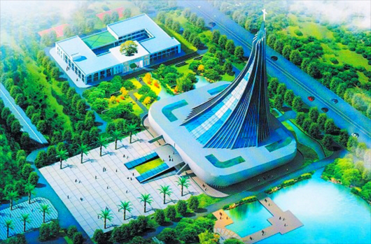 Blueprint of Xingsha Ecological Park, with the Xingsha Church in the middle of the park.