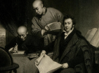 from left to right: Li Shigong, Chen Laoyi, and Robert Morrison. Engraved from a painting by George Chinnery done about 1828.