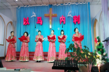 The Mongolian fellowship of Dongsheng Church sang hymns at the Easter Sunday service, on April 16, 2017