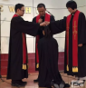 Chen Haihong was ordained pastor by Rev. Wang Conglian, president of Guangxi CCC, and two pastors.