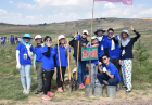 A team of young people planted saplings in the camp.