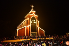 The new, shiny church of Lahu people.