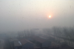 08:34 a.m. Cang Zhou, a city in Hebei Province. The sun rises and you may feel the weak sunshine. It's wonderful  comparing with the heavy smog day, though the sunshine is so weak.