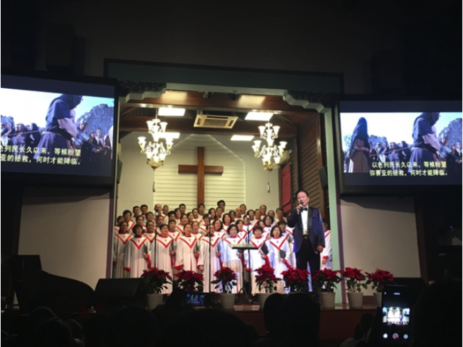 Hangzhou Sicheng Church:the choir sang hymns.