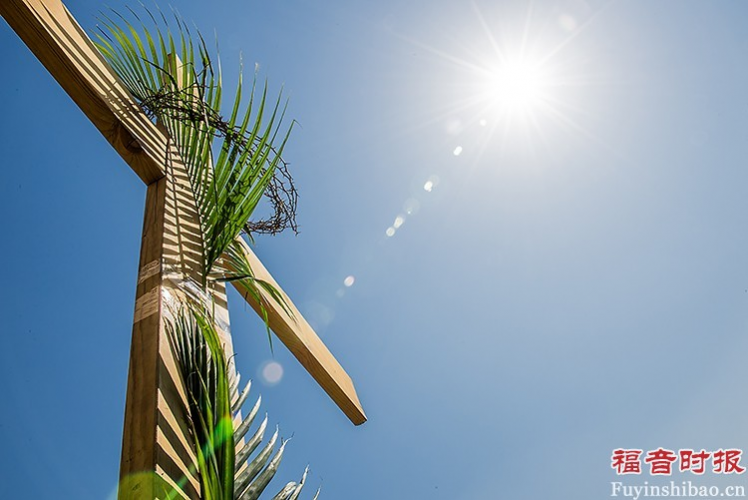 A cross was decorated with palm branches.