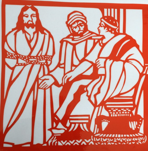 Jesus was questioned by Pilate.