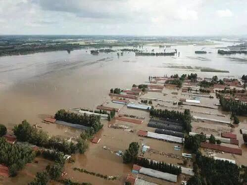 A village in Shouguang, Shandong, flooded.