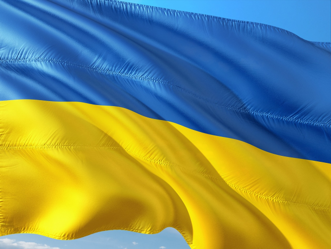 The national flag of Ukraine
