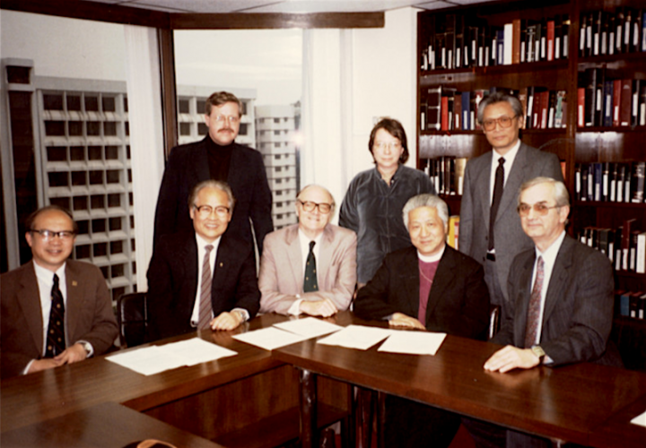 March 1985 meeting in Hong Kong. L-R: 1st row Dr Han, Rev Chan Young Choi, Rev James Payne, Bishop Ting, Rev Dr John Erickson. 2nd row: Dr Philip Wickeri, Mrs Wickeri, Dr Loh.
