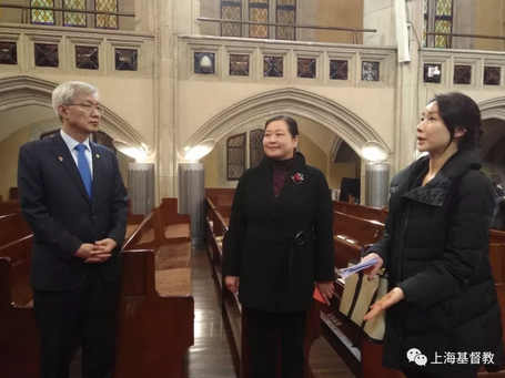 The Korean team including Lee Taeho (left), second Korean vice minister of foreign affairs, visited Shanghai Moore Memorial Church on Mar. 1, 2019.