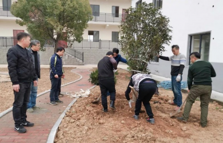 The Christians in Anqing planted trees in Zhengsheng Love and Care Service Center on March 9, 2019.