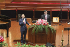 Rev. Will Graham preaches the gospel in Xuan'De Church on February 21, 2016