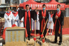 A pastor prayed in the groundbreaking service for reconstruction of the Lintou Church in Sidu Town, Zhao'an County,  Zhangzhou City, Fujian Province held on February 23, 2021.