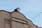 The cross of Hongji Church in Huaishang District, Benghu, Hubei was removed on March 8, 2020.